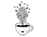 Desenho de Xícara de café kawaii para colorear
