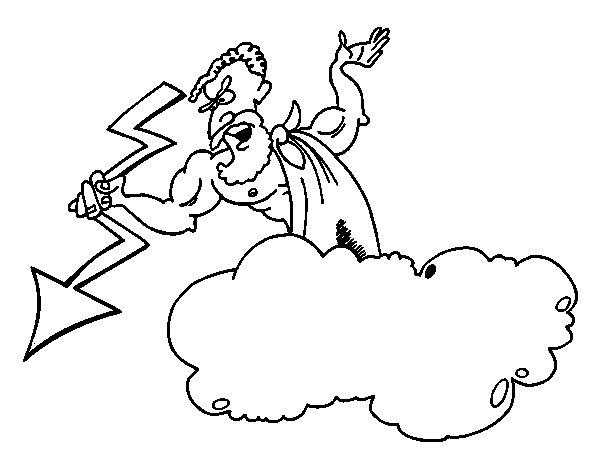 Desenho de Zeus com um raio para Colorir